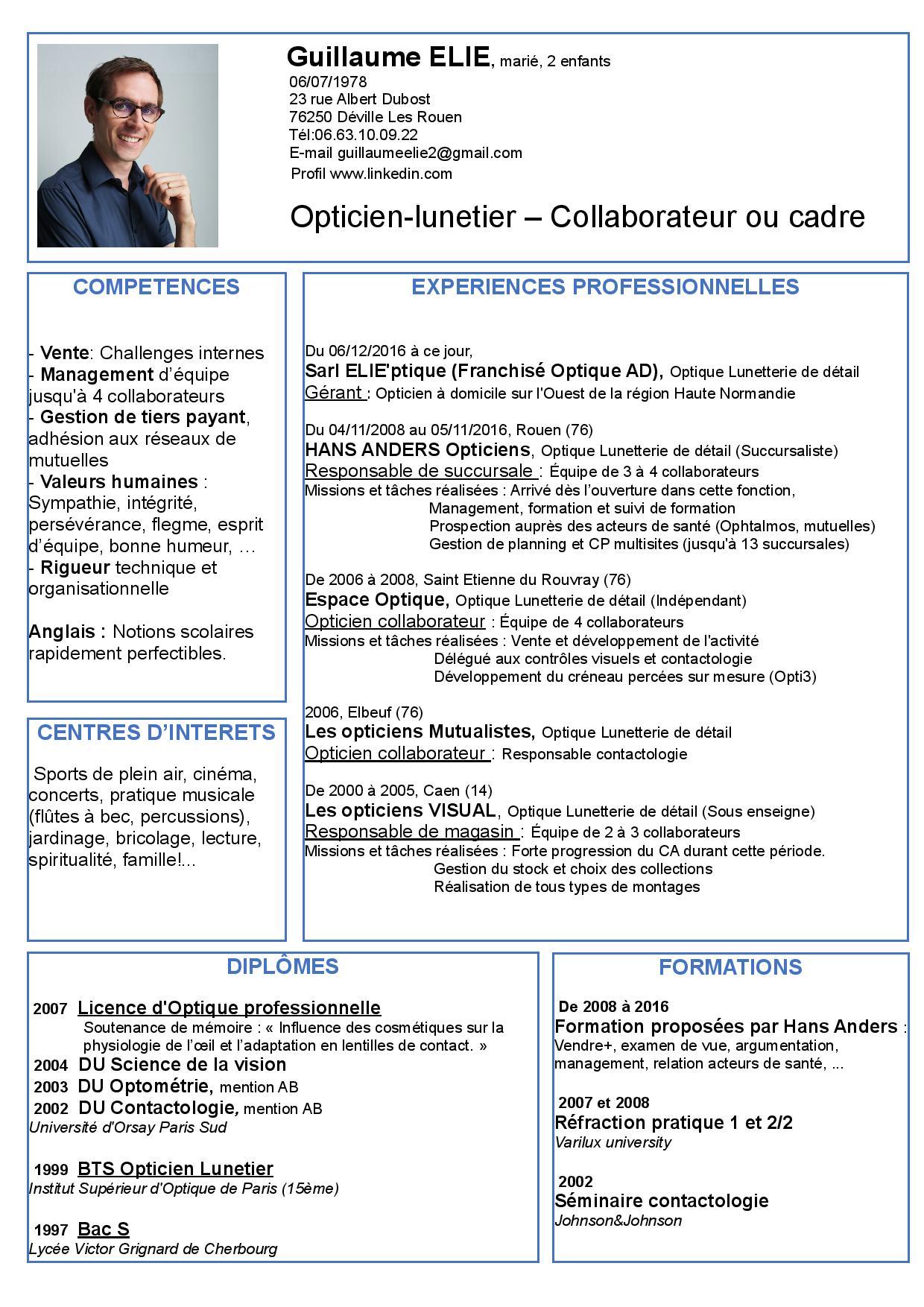 opticien collaborateur ou cadre